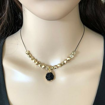 Black Druzy and Gold Beaded Collar Necklace