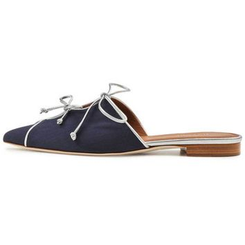 Malone Souliers Vilvin Navy Slide Flat Shoes