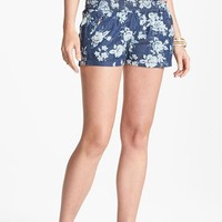 Fire Floral Chambray Shorts (Juniors) | Nordstrom