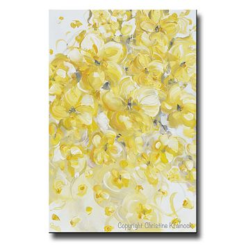 Canvas Print Yellow Grey White Gold Modern Abstract Floral Flowers Wall Art