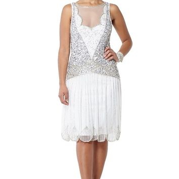 Elaina Art Deco Inspired Drop Waist Dress in off White