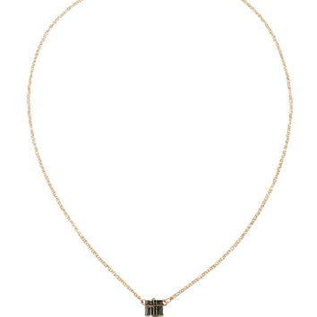 White Crystal Bullet Pendant Chain Necklace