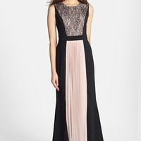 Women's JS Collections Lace & Pleat Panel Crepe Gown,