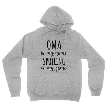 Oma is my name spoiling is my game Mother's day birthday gift for grandma grandmother hoodie