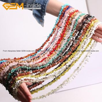 Gem-indide Natural Chips Beads For Jewelry Making Lemon Stone Indian Agates Amazonite 34inch DIY Jewelry Beads