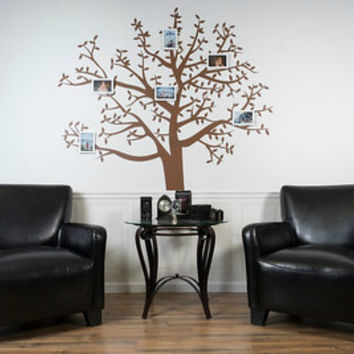 Family Photo Tree Removable XXL Brown Vinyl Wall Decal, Huge 5' Foot Wide X 5.5' Foot Tall