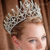 Bridal Large Pageant Beauty Contest Tall Tiara Crown w/ Swarovski Crystal AT1581