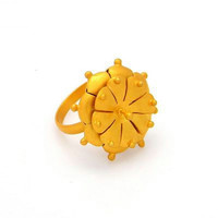 Hand Crafted 925 Sterling Silver Cocktail Ring - Yellow Gold Plated