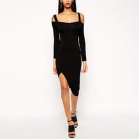 Black Long Cutout Sleeve Midi Dress with Side Slit
