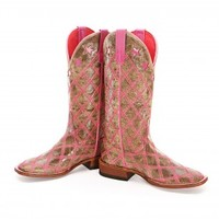 BootDaddy Collection with Macie Bean Pink Patchwork Cowgirl Boots - Cowgirl Boots - Boots