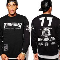 Print THRASHER Round-neck Winter Men's Fashion Hip-hop Long Sleeve Hoodies [9556167751]