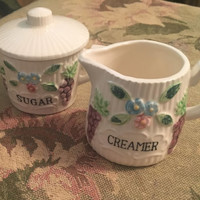 Vintage Sugar and Creamer Set, Porcelain Sugar and Creamer Set,  raised Grapes and Floral design, 2 inch creamer, Great for coffee or tea.