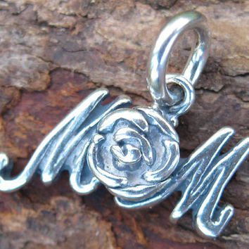 Sterling Silver Mom Rose Charm(one charm)