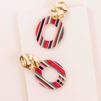 Candy Striped Drop Earrings