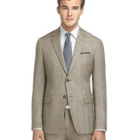 Men's Milano Fit Brown Plaid with Blue and Gold Deco Suit
