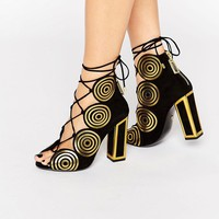Kat Maconie Vera Gold Spiral Leather Ghillie Heeled Sandals at asos.com