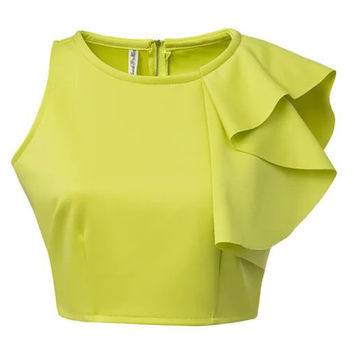 Single Shoulder Ruffled Zip Cropped Top