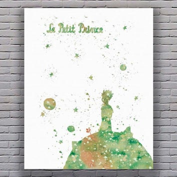 Le Petit Prince Watercolor Art Print Instant Download