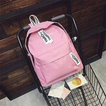 University College Backpack Summer New Solid Color Canvas Shoulder Bag Letter Printing Large Capacity Casual   Wind Couple Shoulder BagAT_63_4