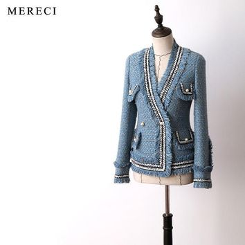 Trendy New arrival women fashion elegant heavy tweed jacket V-neck chains tassel pockets pearls button work wear formal outerwear blue AT_94_13