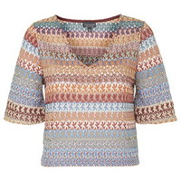 Crochet Flared Sleeve Top - Multi