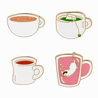 Coffee, Tea or Kitty Enamel Pins
