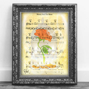 Digital Download Printable Beauty & the Beast Rose Music Page Print