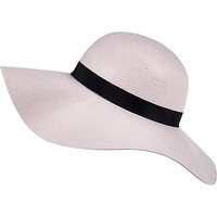 River Island Womens Nude pink oversized floppy fedora hat