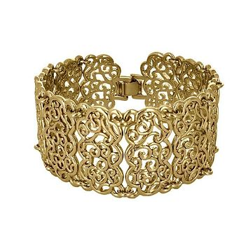 14K Yellow Gold/ Platinum Wide Filigree Style Bracelet with Fold-over Clasp
