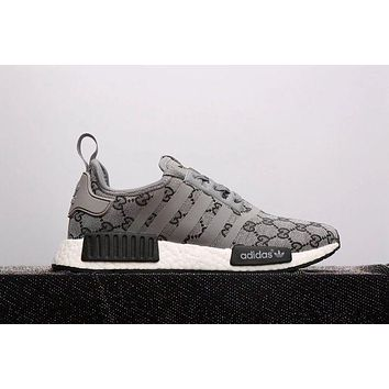 Adidas NMD X GUCCI Trending Women Men Casual Print Running Sports Shoes Sneakers Grey I