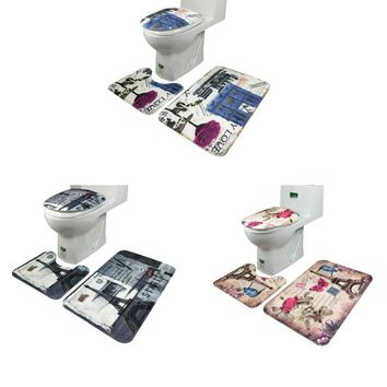 SP 21 Mosunx Business 2016 Hot Selling 3Pcs set Bathroom Non-Slip Blue Ocean Style Pedestal Rug + Lid Toilet Cover + Bath Mat