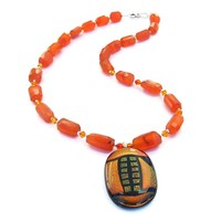 Orange Dichroic Pendant Carnelian Handmade Necklace Swarovski Jewelry