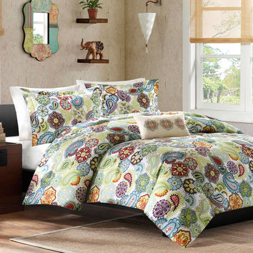 Full / Queen size Colorful Paisley Pattern 4-Piece Comforter Set