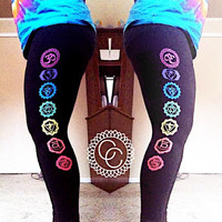 Rainbow Chakra Leggings in Black (High Quality leggings for Yoga, Hooping, Activewear) Printed on BOTH legs