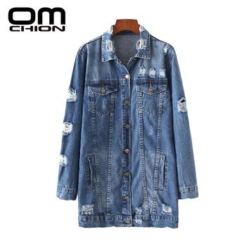 Solid Long Sleeve Turn-down Collar Coat Slim Frayed Single Breasted Denim Jacket