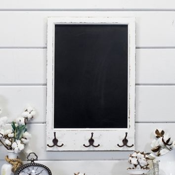 Wood Chalkboard with Hooks Wall Plaque | Kirklands