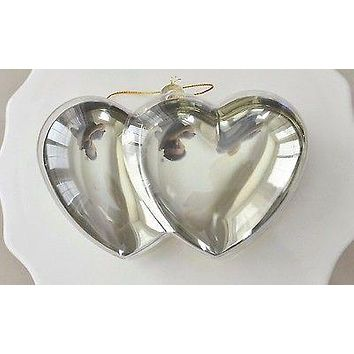 Plastic Gold Chrome Double Heart Container Ornament Favor Fillable