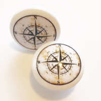 "Nautical Knob Drawer Pulls, White Color, Handmade Antique Style Compass Cabinet Knobs, 1.5"" Beach Birch Dresser Knobs, Made To Order"