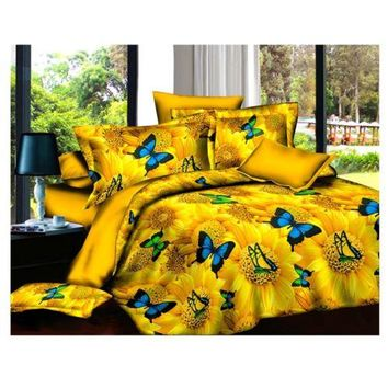 3D Active Printing Bed Quilt Duvet Sheet Cover 4PC Set Upscale Cotton 008