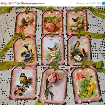SALE 40% SUMMER SIZZLER Flowers and Birds Hang Tags / Pink Polka Dot Tags