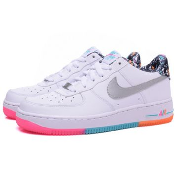 NIKE Women Men Running Sport Casual Shoes Sneakers Air force Low tops White colorful soles