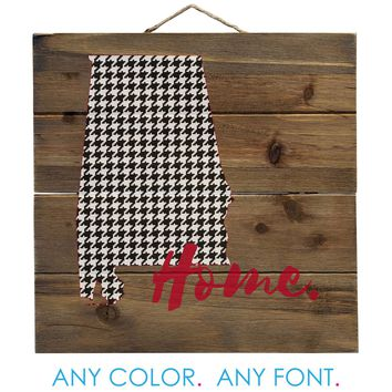 "Alabama Flag Home Houndstooth Distressed Pallet Wood Wall Sign - Decorative - 10"" Square"