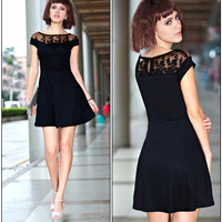 V-Neck Embroidered Lace Mini Dress