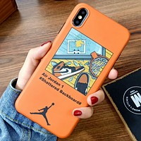 Jordan & Off White Fashion New Shoes Cross Arrow Print Women Men Protective Cover Phone Case Orange