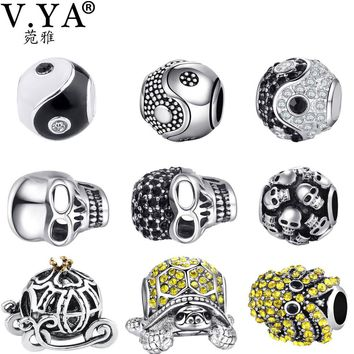 V YA Fashion DIY Crystal Beads Charms fit for Pandora Necklaces Bracelets Women's Men's Skull Jewelry