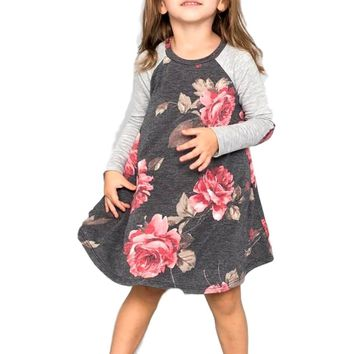 Toddler Floral Long Sleeve Tunic with elbow contrast patch, Black