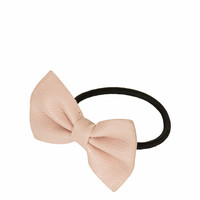 FAUX LEATHER BOW HAIR ELASTIC