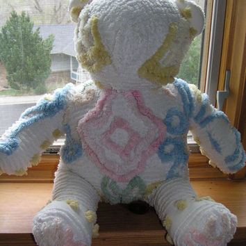 Vintage Chenille Bedspread 16 inch Handmade Large Teddy Bear, White, Pink, Blue, Yellow