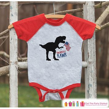 Boys 4th of July Shirt - Red White and Rawr - Dinosaur 4th of July Onepiece or T-shirt - Boys or Girls Red Raglan - Funny Patriotic Shirt