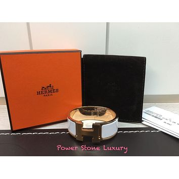 100% Auth Hermes Clic Clac Wide PM bracelet H White Rose Gold GHW Bangle Tagre™